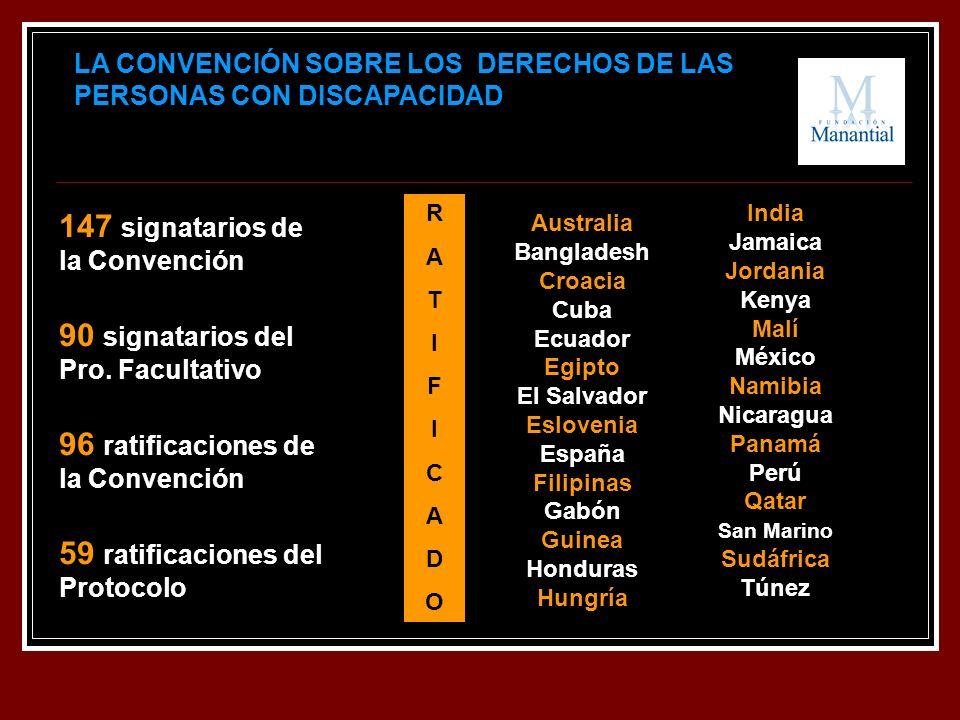 LA CONVENCIÓN SOBRE LOS DERECHOS DE LAS PERSONAS CON DISCAPACIDAD 147 signatarios de la Convención 90 signatarios del Pro. Facultativo 96 ratificacion