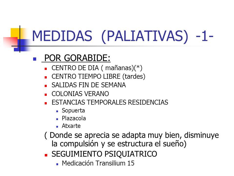 MEDIDAS (PALIATIVAS)-1- POR GORABIDE: CENTRO DE DIA ( mañanas)(*) CENTRO TIEMPO LIBRE (tardes) SALIDAS FIN DE SEMANA COLONIAS VERANO ESTANCIAS TEMPORA
