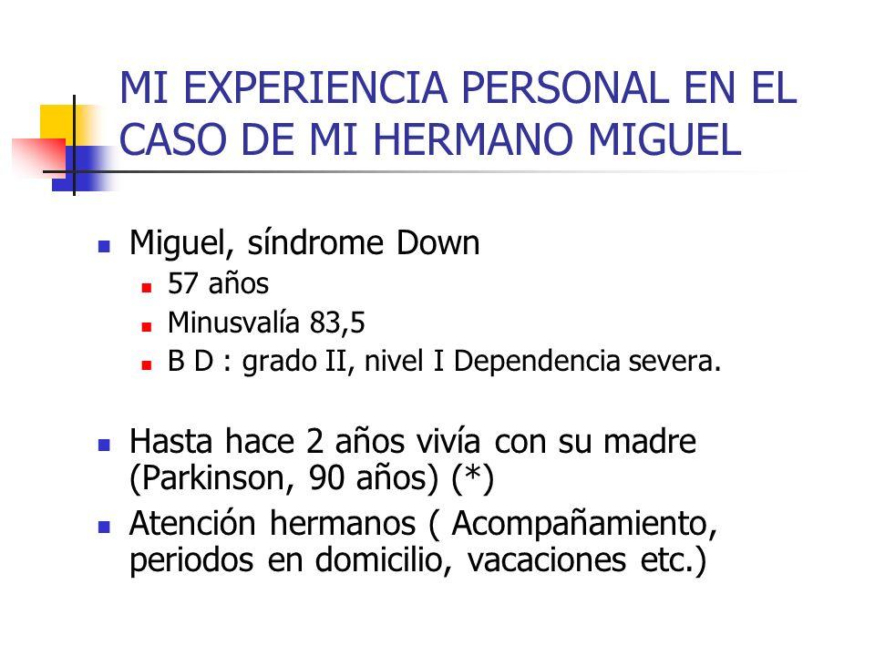 MI EXPERIENCIA PERSONAL EN EL CASO DE MI HERMANO MIGUEL Miguel, síndrome Down 57 años Minusvalía 83,5 B D : grado II, nivel I Dependencia severa. Hast