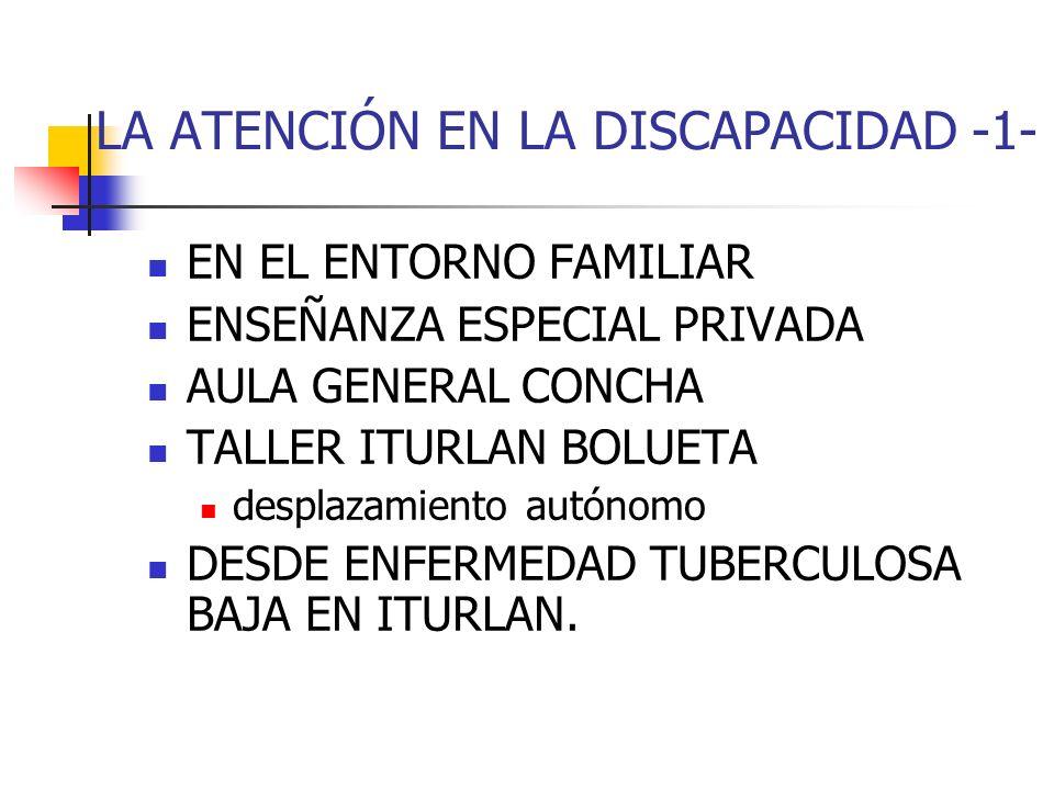 LA ATENCIÓN EN LA DISCAPACIDAD -1- EN EL ENTORNO FAMILIAR ENSEÑANZA ESPECIAL PRIVADA AULA GENERAL CONCHA TALLER ITURLAN BOLUETA desplazamiento autónom