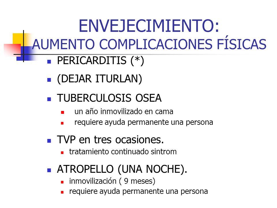 ENVEJECIMIENTO: AUMENTO COMPLICACIONES FÍSICAS PERICARDITIS (*) (DEJAR ITURLAN) TUBERCULOSIS OSEA un año inmovilizado en cama requiere ayuda permanent