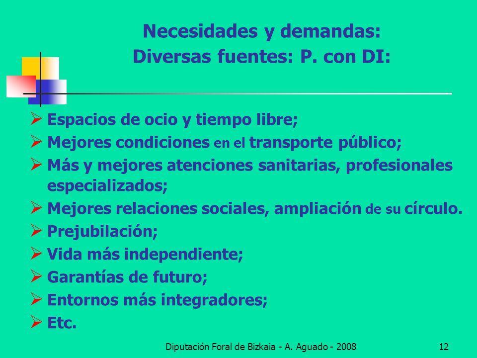 Diputación Foral de Bizkaia - A. Aguado - 200812 Necesidades y demandas: Diversas fuentes: P. con DI: Espacios de ocio y tiempo libre; Mejores condici