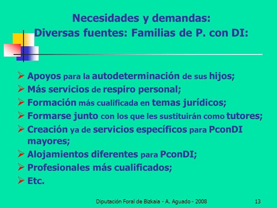 Diputación Foral de Bizkaia - A. Aguado - 200813 Necesidades y demandas: Diversas fuentes: Familias de P. con DI: Apoyos para la autodeterminación de