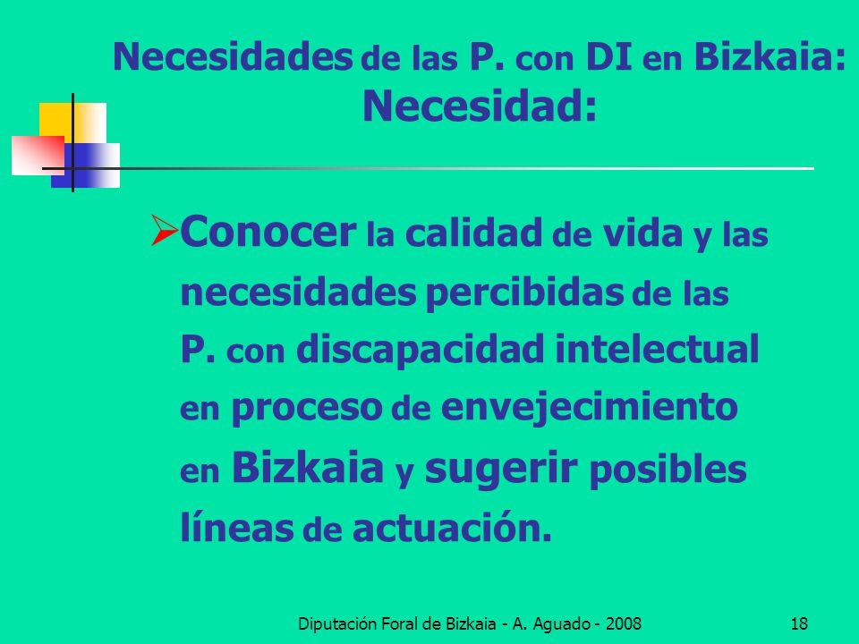 Diputación Foral de Bizkaia - A. Aguado - 200818 Necesidades de las P. con DI en Bizkaia: Necesidad: Conocer la calidad de vida y las necesidades perc