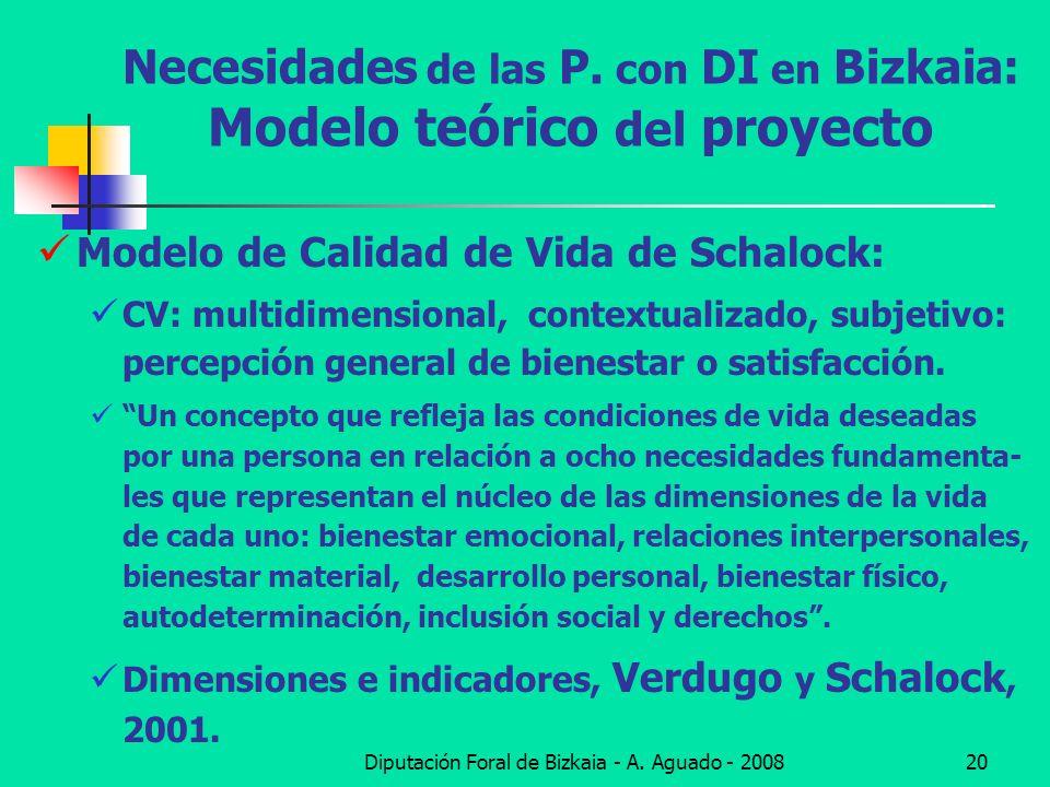 Diputación Foral de Bizkaia - A. Aguado - 200820 Necesidades de las P. con DI en Bizkaia: Modelo teórico del proyecto Modelo de Calidad de Vida de Sch