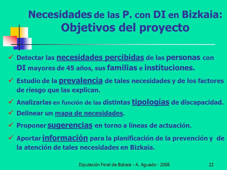 Diputación Foral de Bizkaia - A. Aguado - 200822 Necesidades de las P. con DI en Bizkaia: Objetivos del proyecto Detectar las necesidades percibidas d