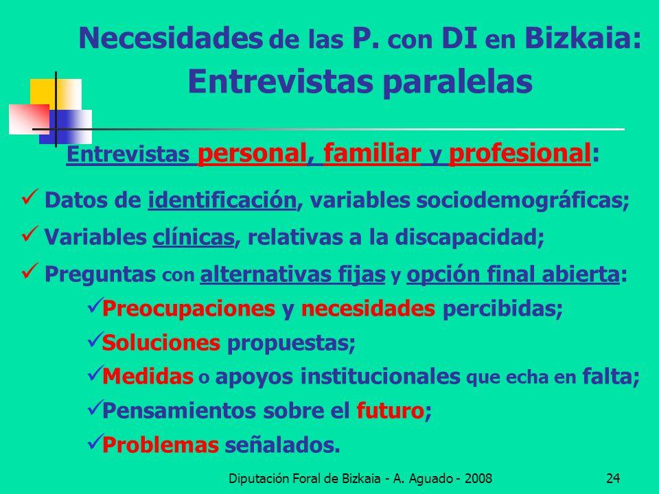 Diputación Foral de Bizkaia - A. Aguado - 200824 Necesidades de las P. con DI en Bizkaia: Entrevistas paralelas Entrevistas personal, familiar y profe