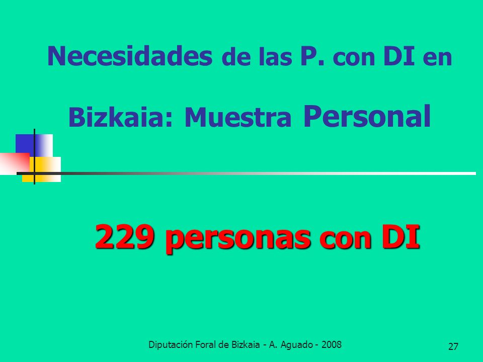 Diputación Foral de Bizkaia - A. Aguado - 2008 27 Necesidades de las P. con DI en Bizkaia: Muestra Personal 229 personas con DI
