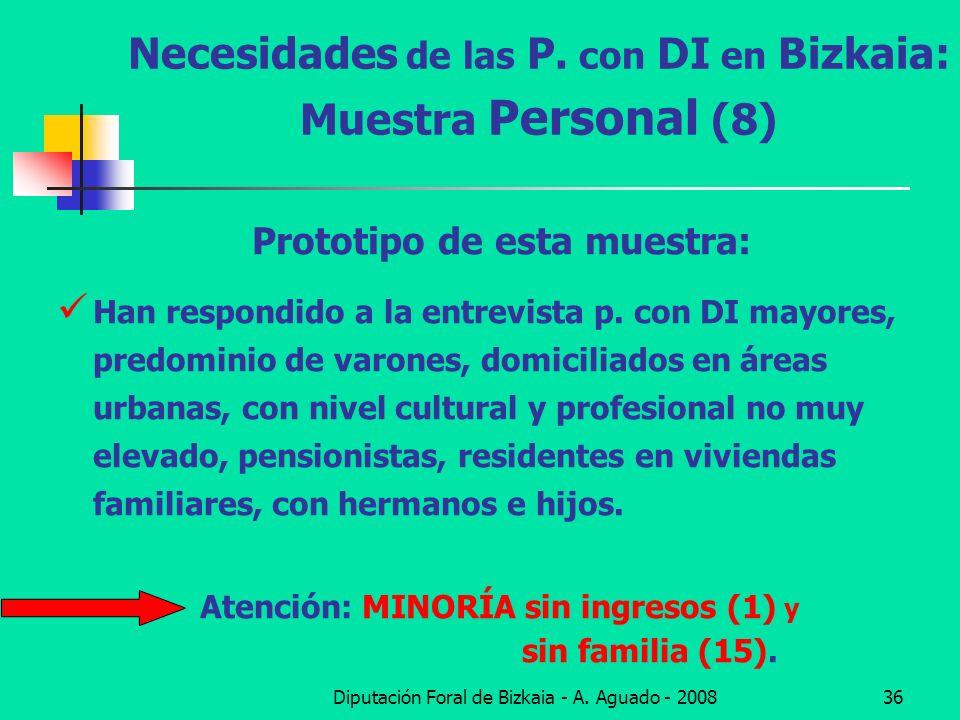 Diputación Foral de Bizkaia - A. Aguado - 200836 Necesidades de las P. con DI en Bizkaia: Muestra Personal (8) Prototipo de esta muestra: Han respondi