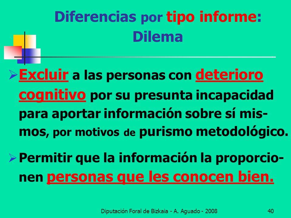 Diputación Foral de Bizkaia - A. Aguado - 200840 Diferencias por tipo informe: Dilema Excluir a las personas con deterioro cognitivo por su presunta i