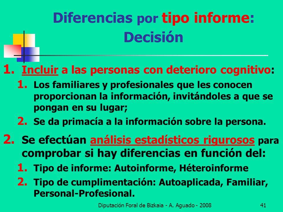 Diputación Foral de Bizkaia - A. Aguado - 200841 Diferencias por tipo informe: Decisión 1. Incluir a las personas con deterioro cognitivo: 1. Los fami