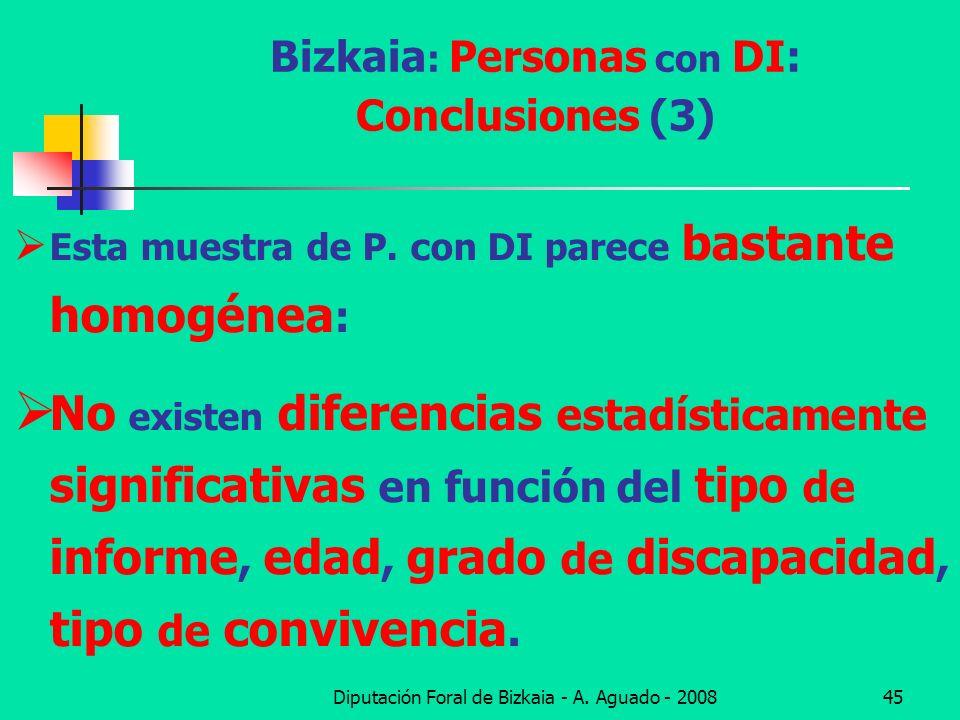 Diputación Foral de Bizkaia - A. Aguado - 200845 Bizkaia : Personas con DI: Conclusiones (3) Esta muestra de P. con DI parece bastante homogénea : No