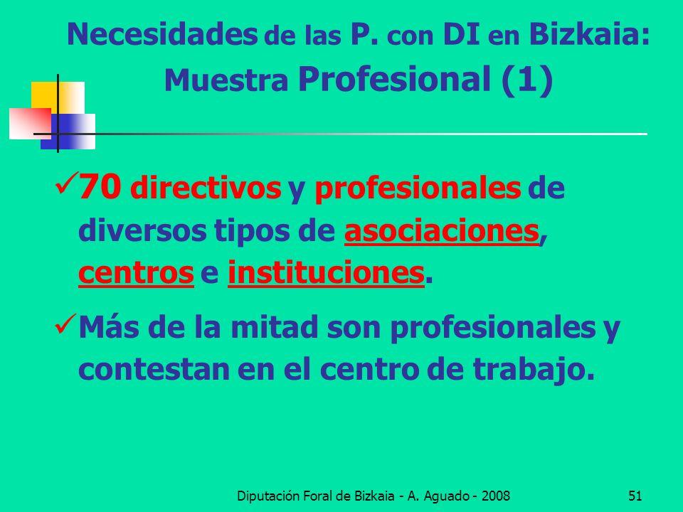 Diputación Foral de Bizkaia - A. Aguado - 200851 Necesidades de las P. con DI en Bizkaia: Muestra Profesional (1) 70 directivos y profesionales de div