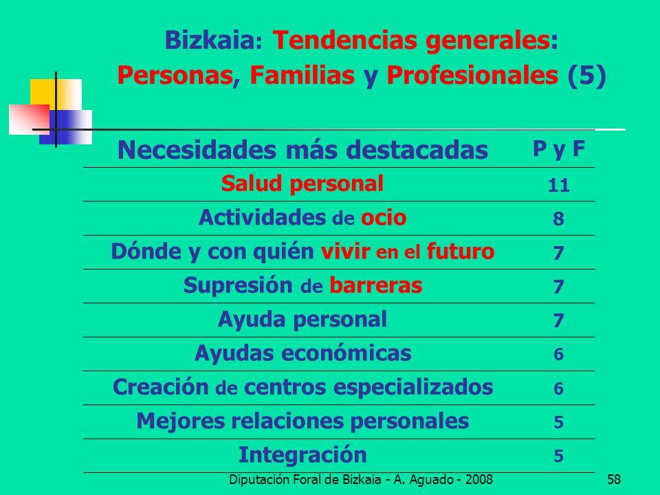 Diputación Foral de Bizkaia - A. Aguado - 200858 Bizkaia : Tendencias generales: Personas, Familias y Profesionales (5) Necesidades más destacadas P y