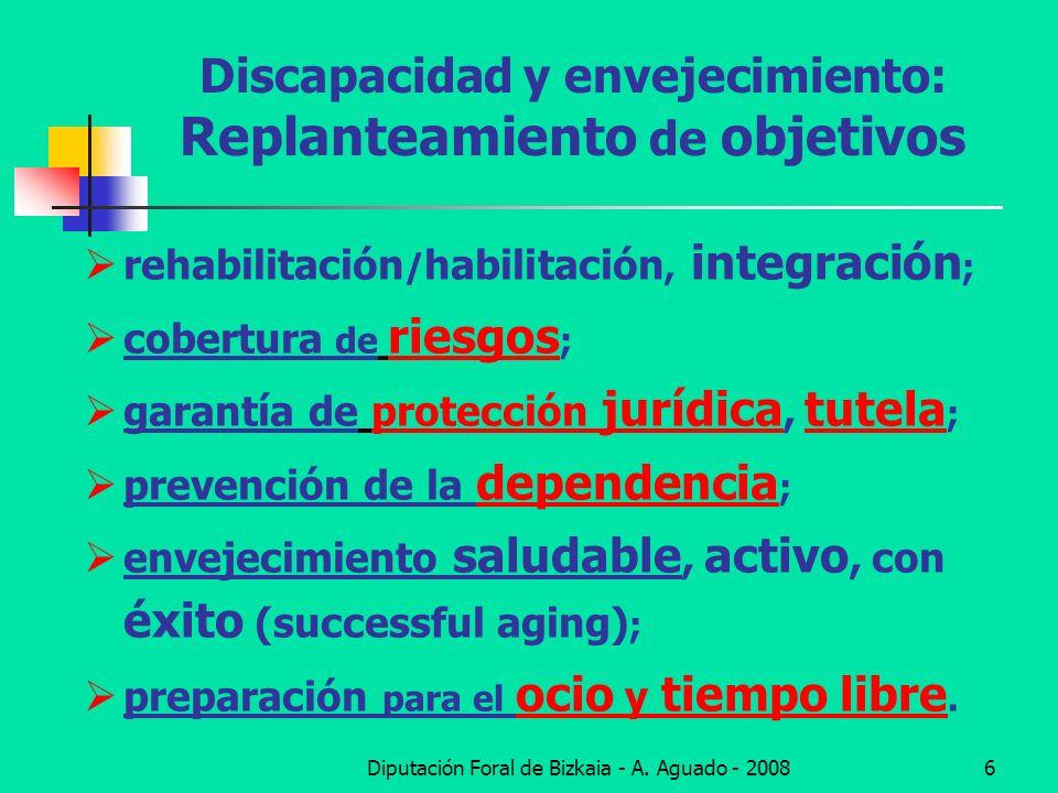 Diputación Foral de Bizkaia - A. Aguado - 20086 Discapacidad y envejecimiento: Replanteamiento de objetivos rehabilitación / habilitación, integración