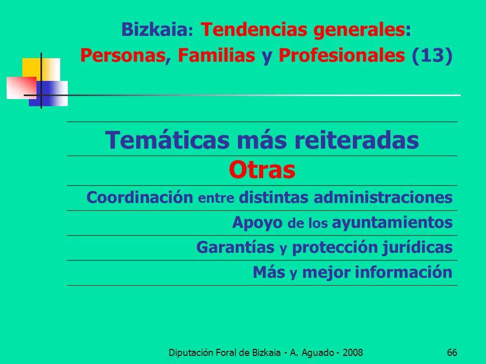 Diputación Foral de Bizkaia - A. Aguado - 200866 Bizkaia : Tendencias generales: Personas, Familias y Profesionales (13) Temáticas más reiteradas Otra