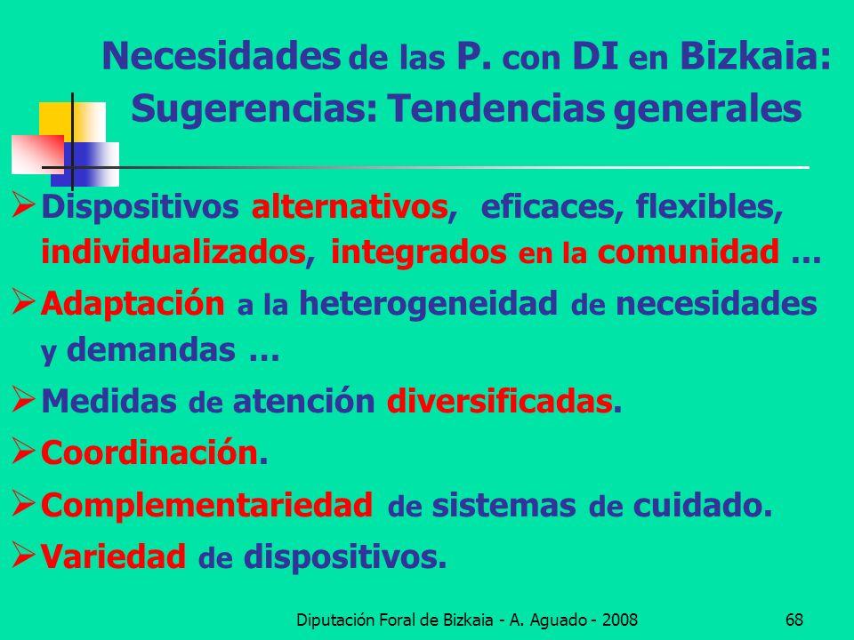 Diputación Foral de Bizkaia - A. Aguado - 200868 Necesidades de las P. con DI en Bizkaia: Sugerencias: Tendencias generales Dispositivos alternativos,
