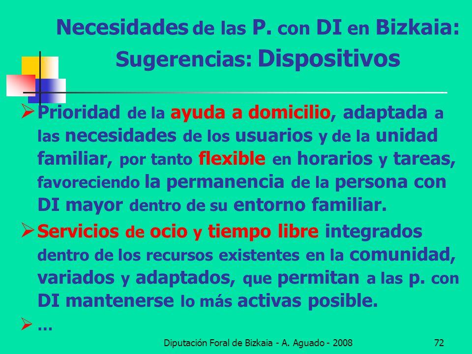 Diputación Foral de Bizkaia - A. Aguado - 200872 Necesidades de las P. con DI en Bizkaia: Sugerencias: Dispositivos Prioridad de la ayuda a domicilio,