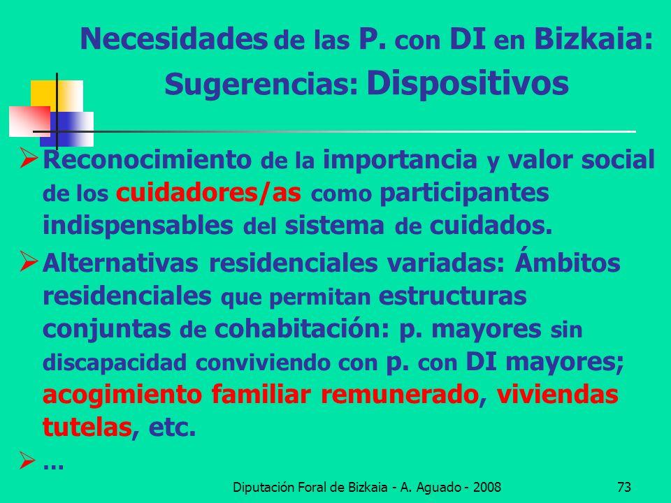 Diputación Foral de Bizkaia - A. Aguado - 200873 Necesidades de las P. con DI en Bizkaia: Sugerencias: Dispositivos Reconocimiento de la importancia y