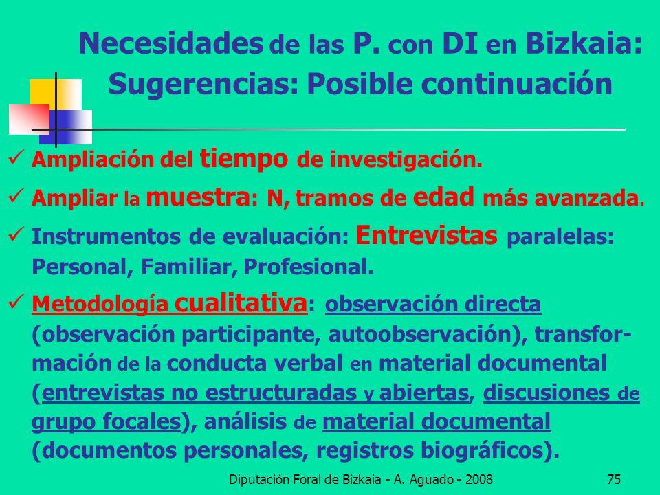Diputación Foral de Bizkaia - A. Aguado - 200875 Necesidades de las P. con DI en Bizkaia: Sugerencias: Posible continuación Ampliación del tiempo de i