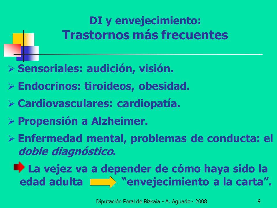 Diputación Foral de Bizkaia - A. Aguado - 20089 DI y envejecimiento: Trastornos más frecuentes Sensoriales: audición, visión. Endocrinos: tiroideos, o