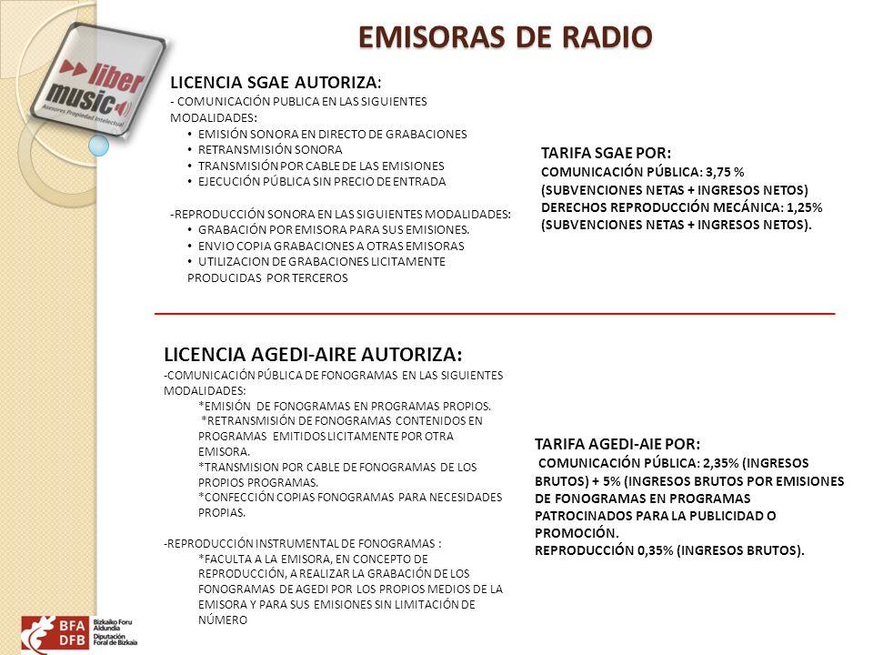 EMISORAS DE RADIO LICENCIA SGAE AUTORIZA : - COMUNICACIÓN PUBLICA EN LAS SIGUIENTES MODALIDADES: EMISIÓN SONORA EN DIRECTO DE GRABACIONES RETRANSMISIÓ