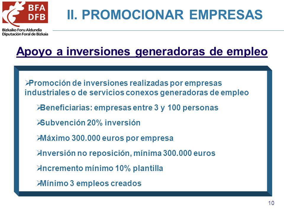 10 Apoyo a inversiones generadoras de empleo Promoción de inversiones realizadas por empresas industriales o de servicios conexos generadoras de emple