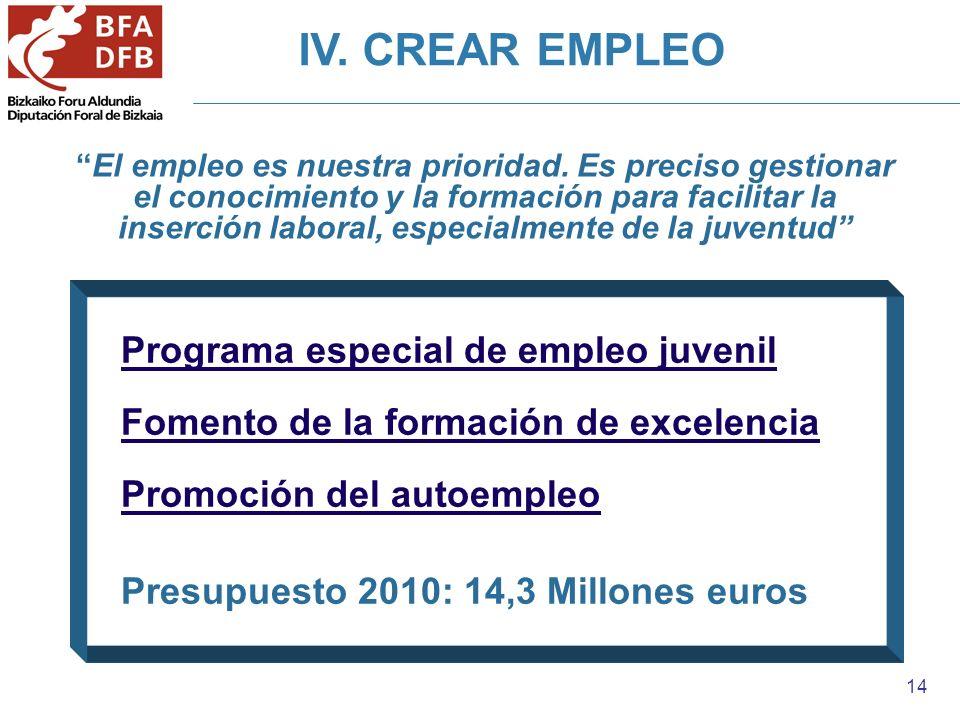 14 IV. CREAR EMPLEO El empleo es nuestra prioridad. Es preciso gestionar el conocimiento y la formación para facilitar la inserción laboral, especialm