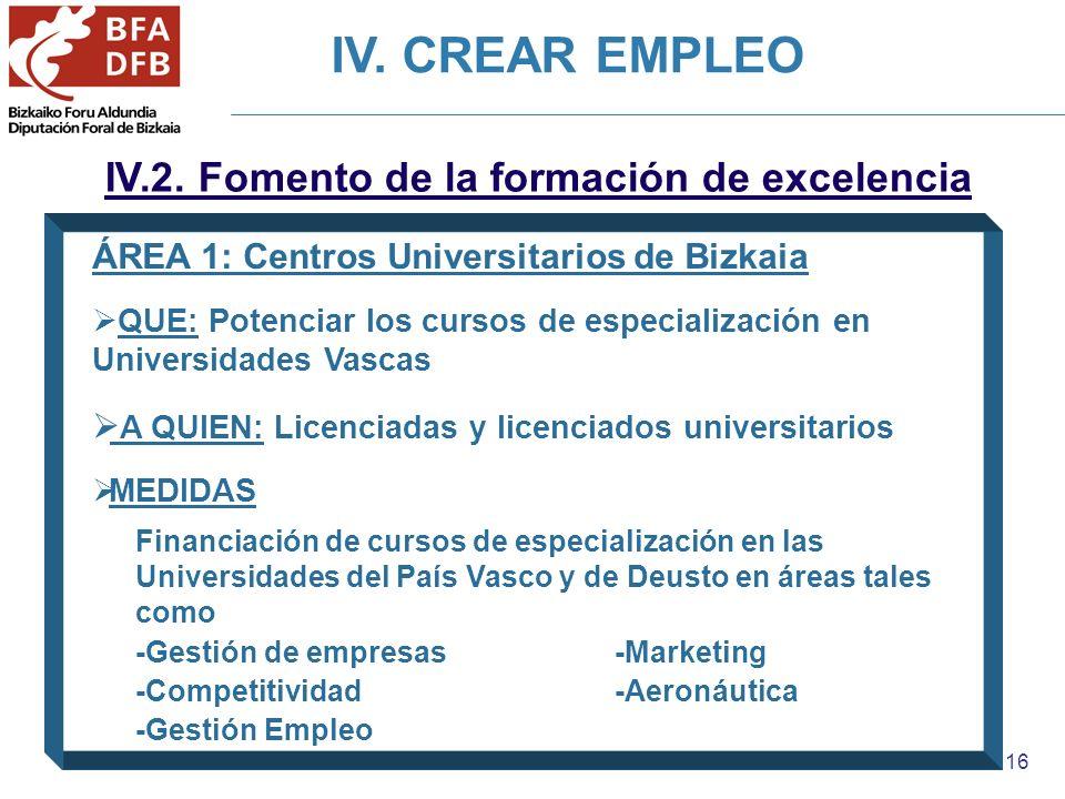 16 IV.2. Fomento de la formación de excelencia ÁREA 1: Centros Universitarios de Bizkaia QUE: Potenciar los cursos de especialización en Universidades