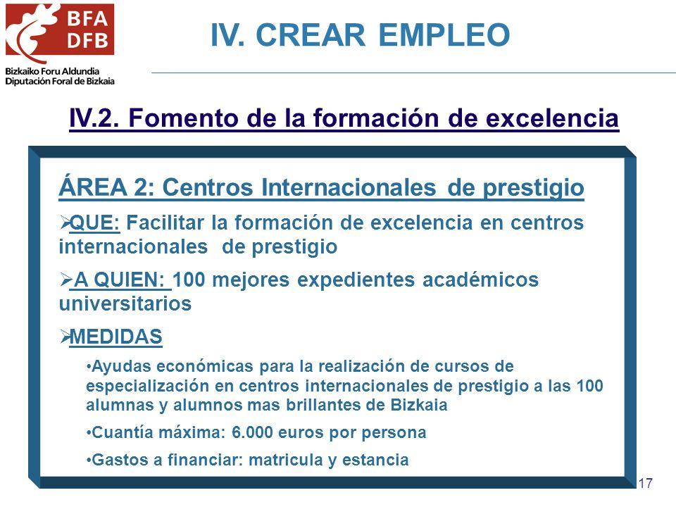 17 IV.2. Fomento de la formación de excelencia ÁREA 2: Centros Internacionales de prestigio QUE: Facilitar la formación de excelencia en centros inter