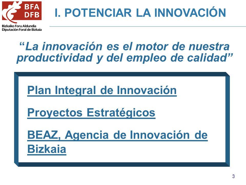 3 I. POTENCIAR LA INNOVACIÓN La innovación es el motor de nuestra productividad y del empleo de calidad Plan Integral de Innovación Proyectos Estratég