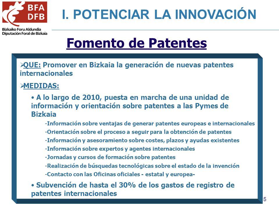 5 Fomento de Patentes QUE: Promover en Bizkaia la generación de nuevas patentes internacionales MEDIDAS: A lo largo de 2010, puesta en marcha de una unidad de información y orientación sobre patentes a las Pymes de Bizkaia -Información sobre ventajas de generar patentes europeas e internacionales -Orientación sobre el proceso a seguir para la obtención de patentes -Información y asesoramiento sobre costes, plazos y ayudas existentes -Información sobre expertos y agentes internacionales -Jornadas y cursos de formación sobre patentes -Realización de búsquedas tecnológicas sobre el estado de la invención -Contacto con las Oficinas oficiales - estatal y europea- Subvención de hasta el 30% de los gastos de registro de patentes internacionales I.