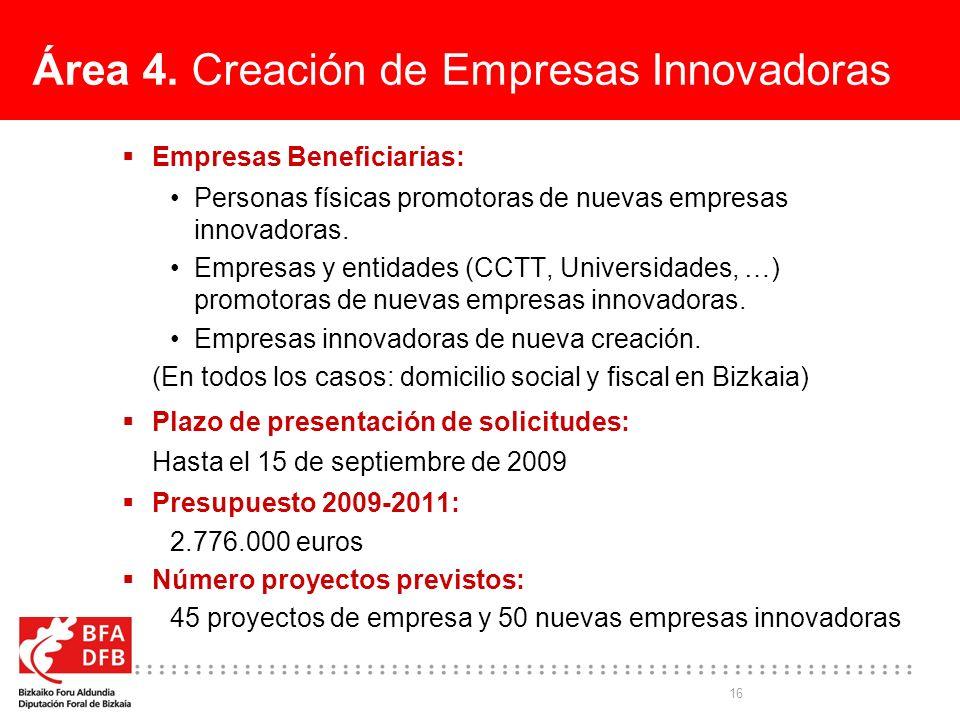 16 Área 4. Creación de Empresas Innovadoras Empresas Beneficiarias: Personas físicas promotoras de nuevas empresas innovadoras. Empresas y entidades (