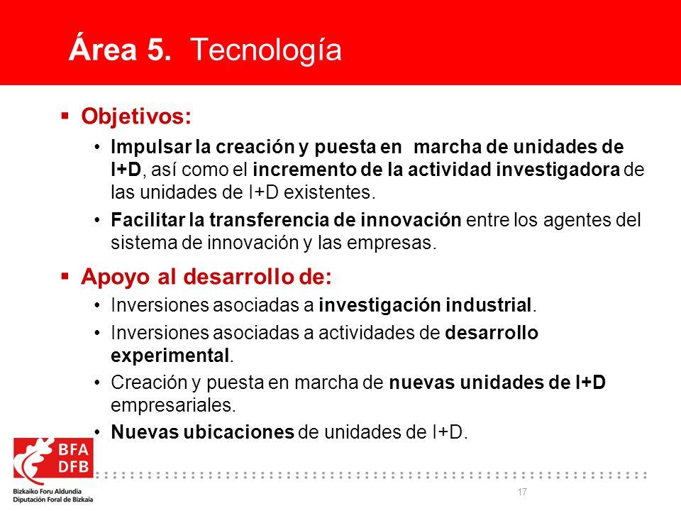 17 Área 5. Tecnología Objetivos: Impulsar la creación y puesta en marcha de unidades de I+D, así como el incremento de la actividad investigadora de l