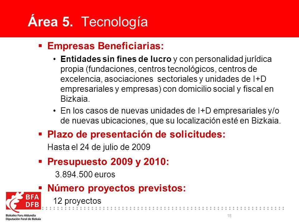 18 Área 5. Tecnología Empresas Beneficiarias: Entidades sin fines de lucro y con personalidad jurídica propia (fundaciones, centros tecnológicos, cent