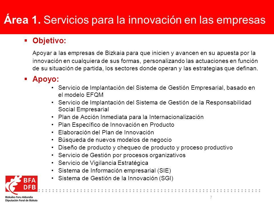 7 Área 1. Servicios para la innovación en las empresas Objetivo: Apoyar a las empresas de Bizkaia para que inicien y avancen en su apuesta por la inno