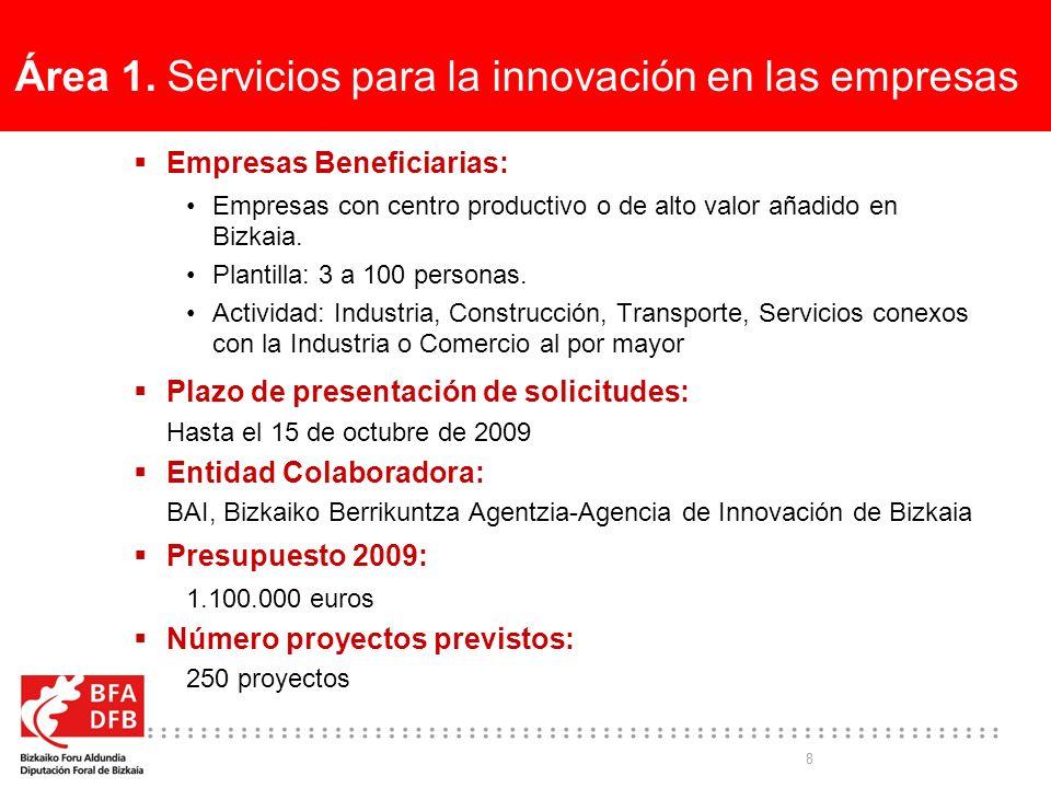 8 Área 1. Servicios para la innovación en las empresas Empresas Beneficiarias: Empresas con centro productivo o de alto valor añadido en Bizkaia. Plan