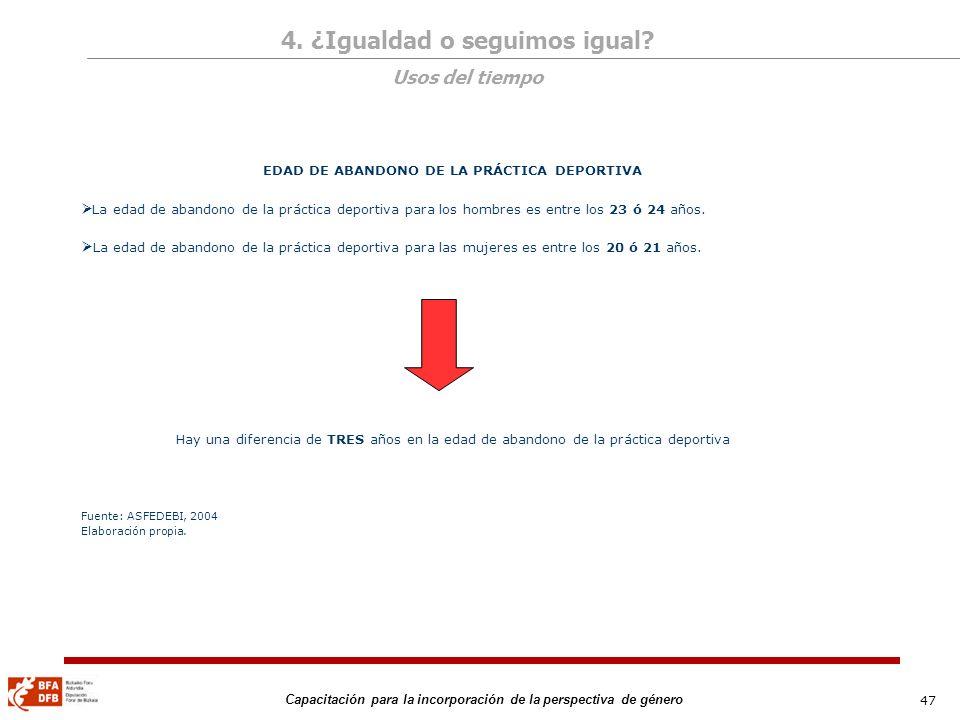 47 Capacitación para la incorporación de la perspectiva de género EDAD DE ABANDONO DE LA PRÁCTICA DEPORTIVA La edad de abandono de la práctica deporti