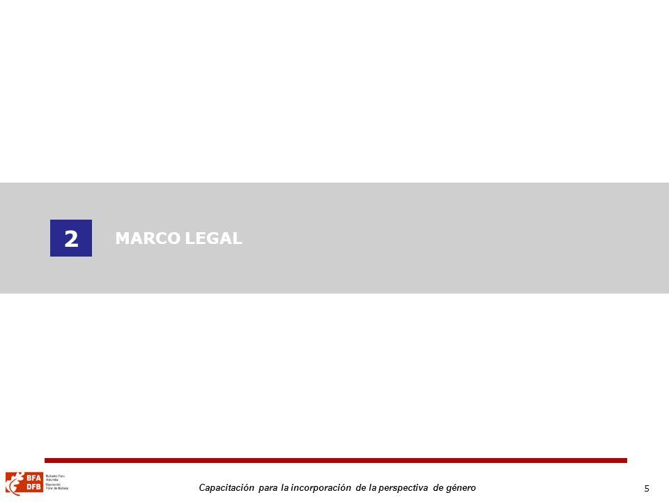 6 Capacitación para la incorporación de la perspectiva de género MARCO LEGAL 1975: I Conferencia Internacional de la Mujer de la ONU y Declaración de la Comisión de la Condición de la Mujer 1975: La Unión Europea: Directivas - Hoja de Ruta 2006-2010 1979: Naciones Unidas: CEDAW 2000: Diputación Foral de Bizkaia Plan Foral para la Igualdad de Oportunidades entre mujeres y hombres y políticas de género (2000-2003) Plan Foral para la Igualdad de Oportunidades entre mujeres y hombres y políticas de género (2004-2007) Plan Foral (2009-2011): en proceso 2005: Ley 4/2005, de 18 de febrero para la Igualdad de mujeres y hombres del Parlamento Vasco Ley de Igualdad Poderes Públicos.