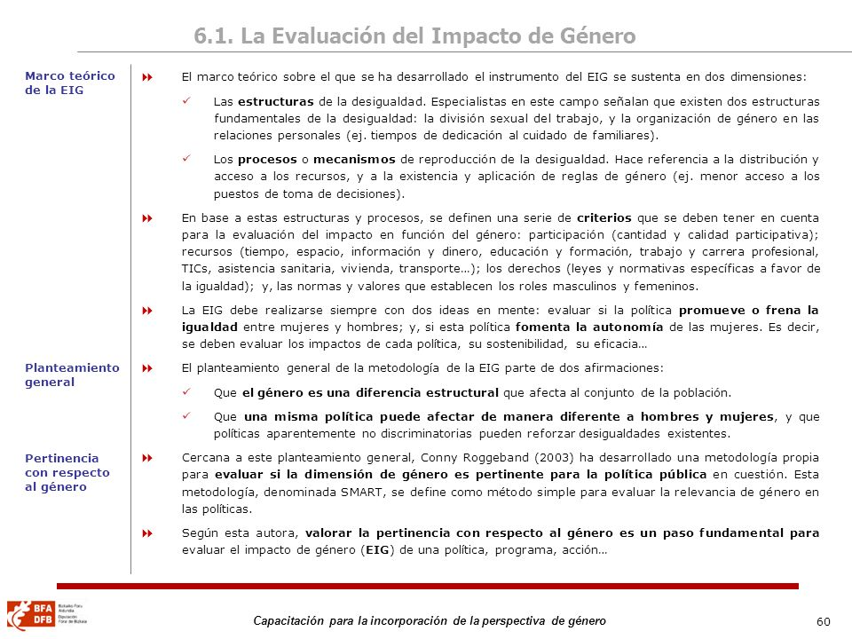 60 Capacitación para la incorporación de la perspectiva de género 6.1. La Evaluación del Impacto de Género El marco teórico sobre el que se ha desarro