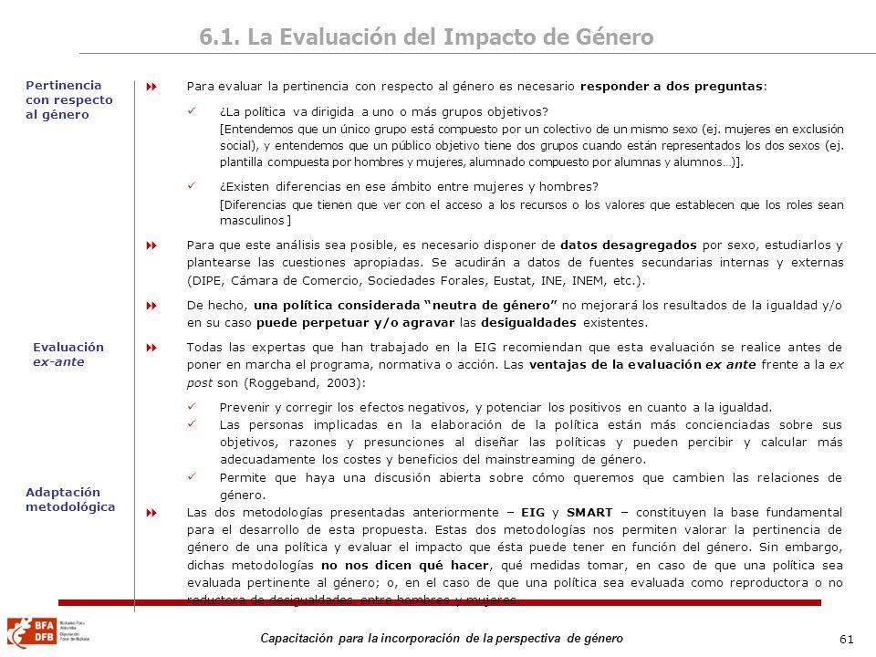 61 Capacitación para la incorporación de la perspectiva de género 6.1. La Evaluación del Impacto de Género Para evaluar la pertinencia con respecto al