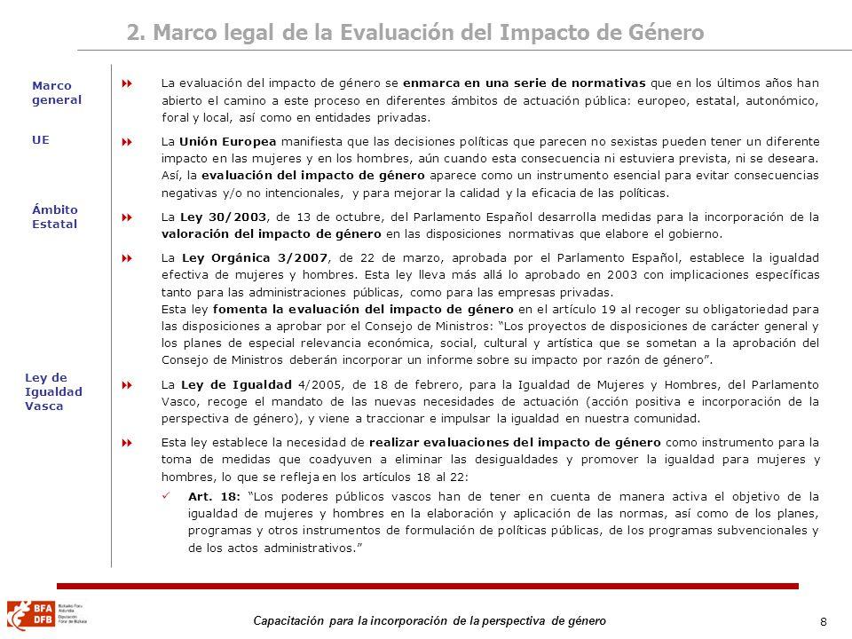 8 Capacitación para la incorporación de la perspectiva de género 2. Marco legal de la Evaluación del Impacto de Género La evaluación del impacto de gé