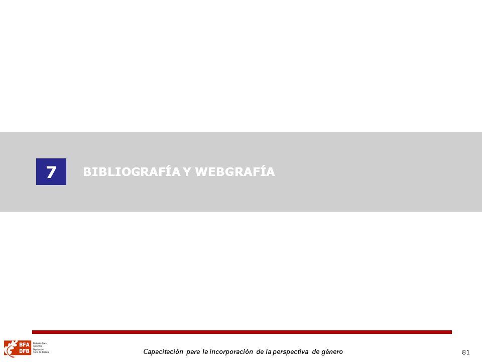 81 Capacitación para la incorporación de la perspectiva de género 7 BIBLIOGRAFÍA Y WEBGRAFÍA
