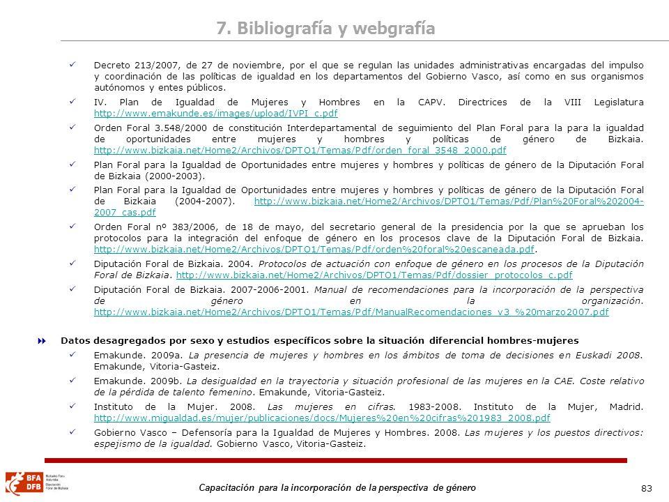 83 Capacitación para la incorporación de la perspectiva de género Decreto 213/2007, de 27 de noviembre, por el que se regulan las unidades administrat