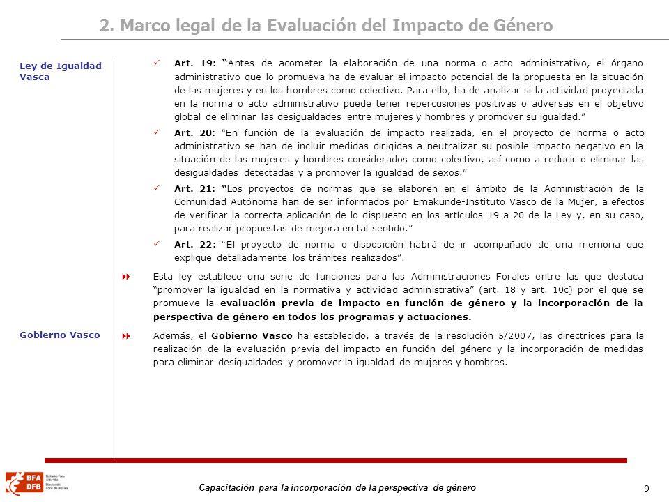 9 Capacitación para la incorporación de la perspectiva de género 2. Marco legal de la Evaluación del Impacto de Género Art. 19: Antes de acometer la e
