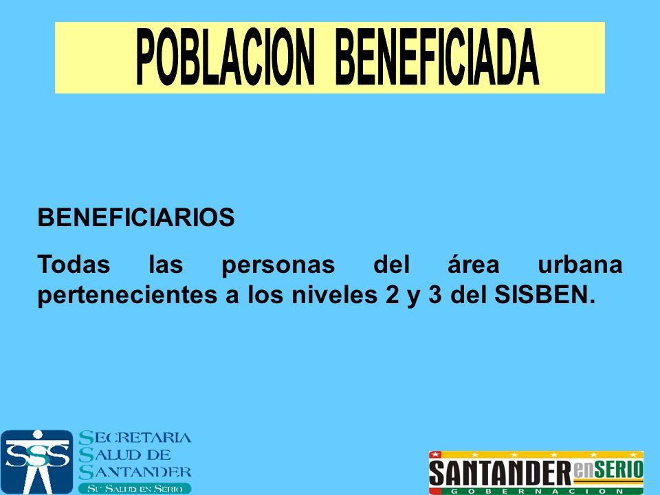 BENEFICIARIOS Todas las personas del área urbana pertenecientes a los niveles 2 y 3 del SISBEN.