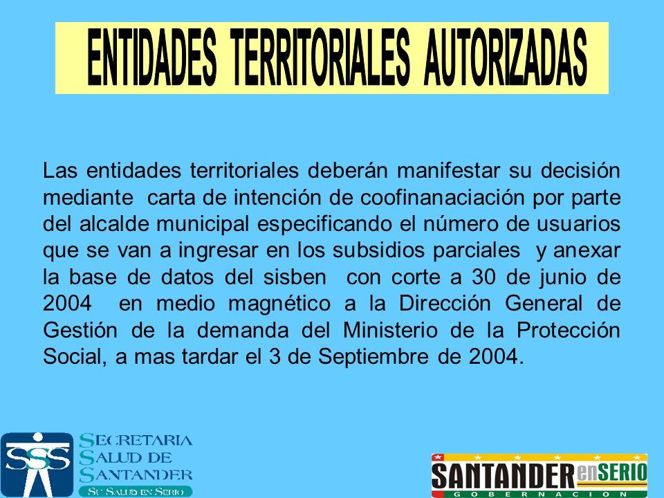 Las entidades territoriales deberán manifestar su decisión mediante carta de intención de coofinanaciación por parte del alcalde municipal especifican
