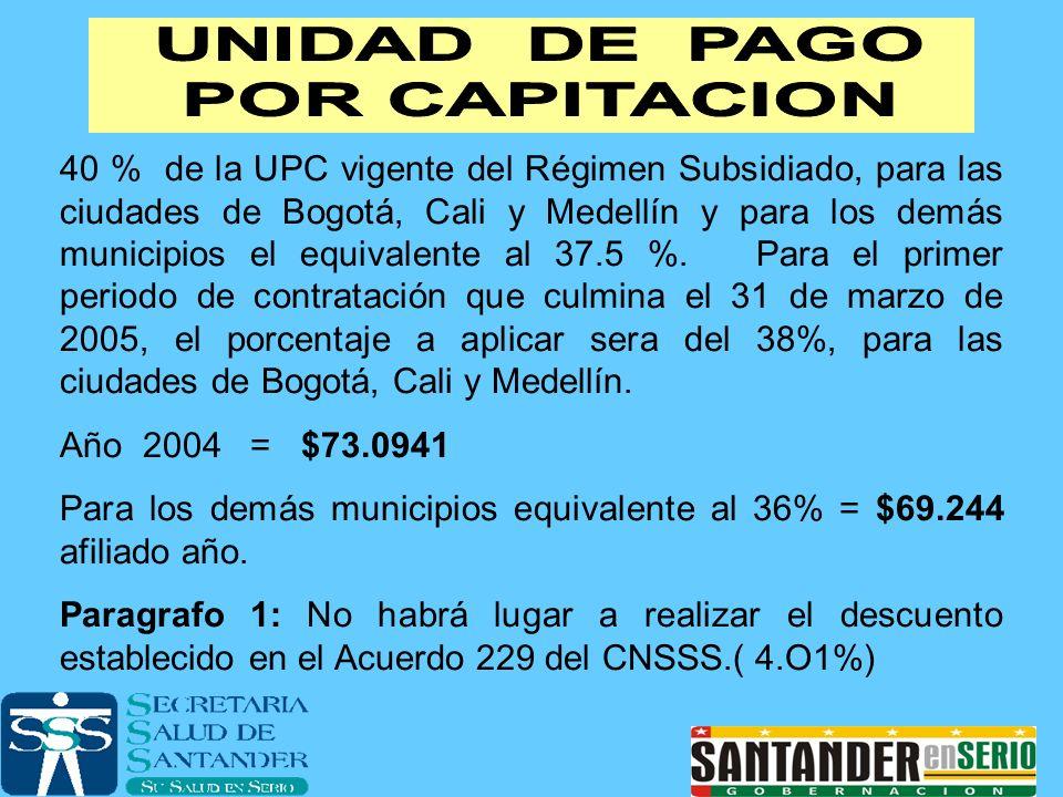 40 % de la UPC vigente del Régimen Subsidiado, para las ciudades de Bogotá, Cali y Medellín y para los demás municipios el equivalente al 37.5 %. Para