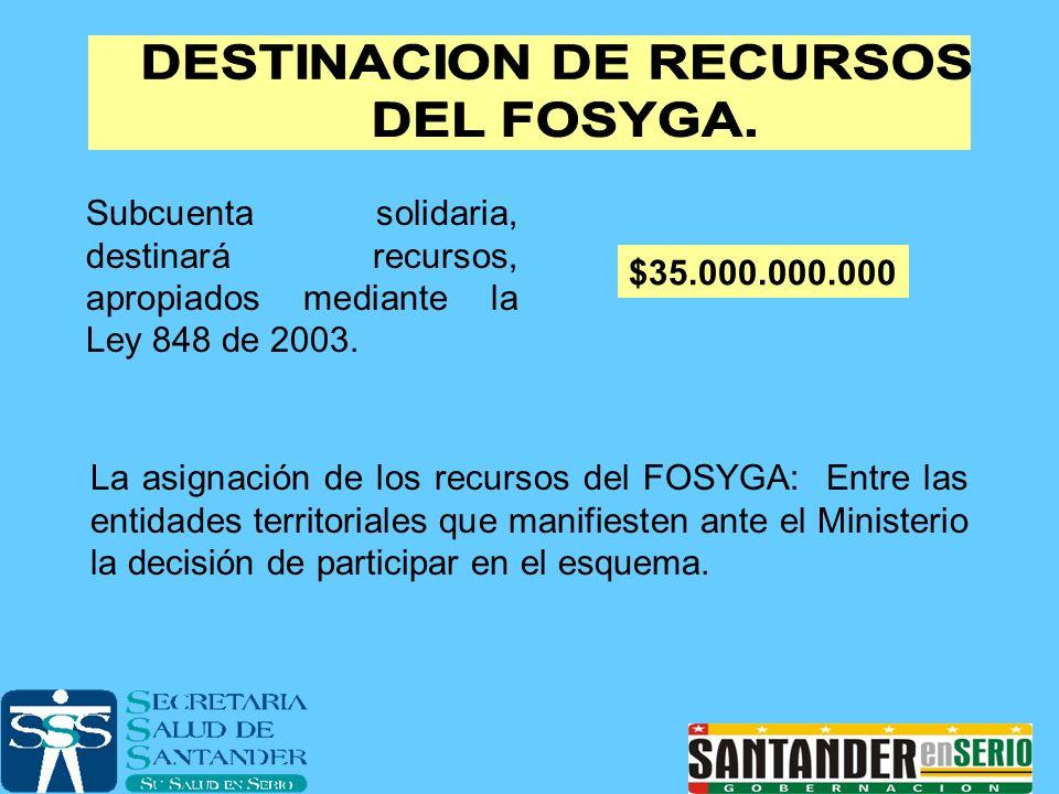 Subcuenta solidaria, destinará recursos, apropiados mediante la Ley 848 de 2003. $35.000.000.000 La asignación de los recursos del FOSYGA: Entre las e
