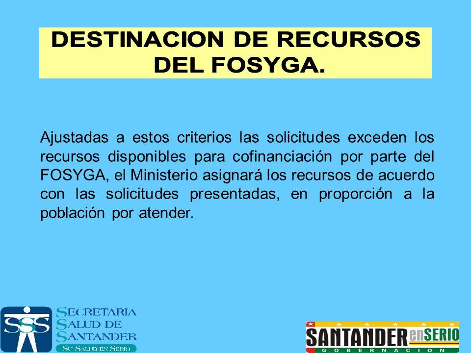 Ajustadas a estos criterios las solicitudes exceden los recursos disponibles para cofinanciación por parte del FOSYGA, el Ministerio asignará los recu